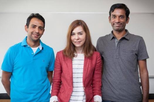 PhD Ezzeldin Hamed, professor Dina Katabi, and visiting researcher Hariharan Rahul developed MegaMIMO to address spectrum crunch.