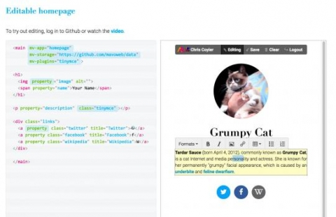CSAIL's open-source Mavo language lets you edit a website right in your browser